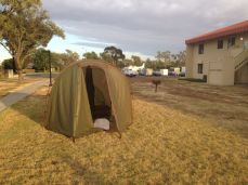 Drying the tent at Travis AFB